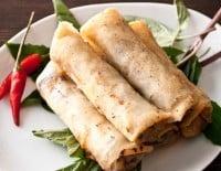Deep frying - spring rolls