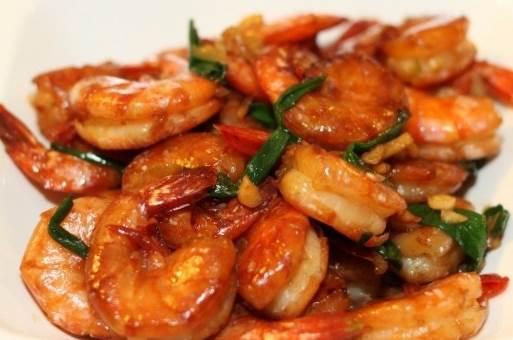 Stir-fried shrimp & scallions