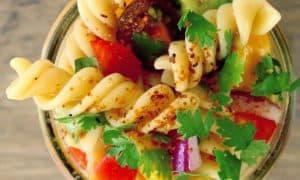 Mango, tomato, basil & pasta salad