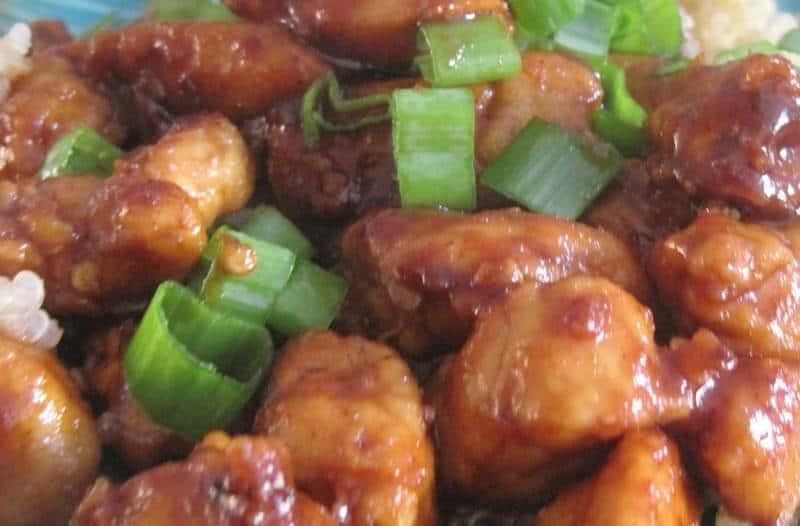 Mongolian chicken on white rice