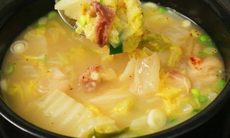 Napa cabbage & soybean paste soup